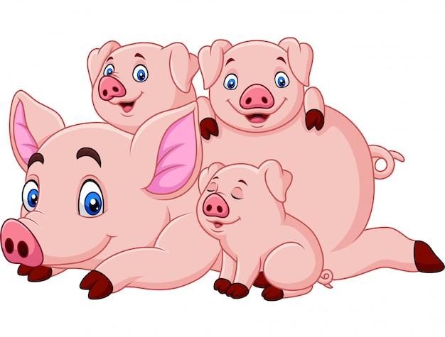 Madre felice del maiale del fumetto con i porcellini Vettore Premium