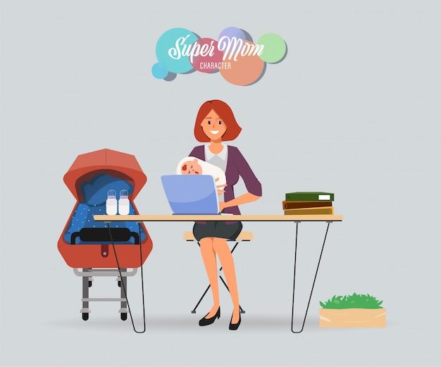 Madre impegnata con un personaggio piccolo e laborioso. Vettore Premium