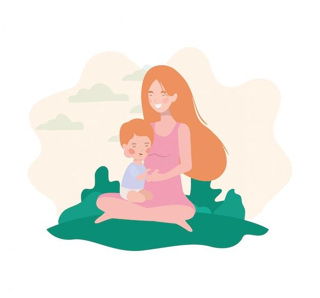 Madre incinta carina seduta con ragazzino nel campo Vettore Premium