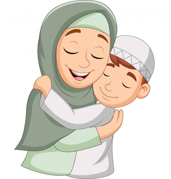 Madre musulmana che abbraccia suo figlio Vettore Premium