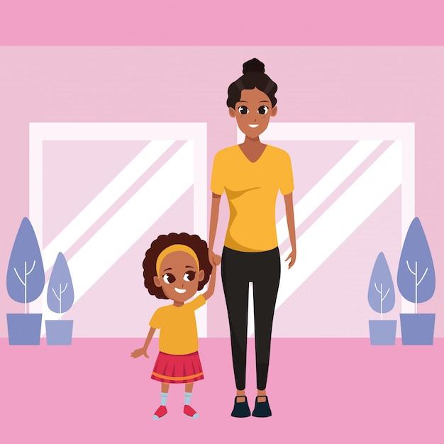 Madre single con cartoon bambini Vettore gratuito