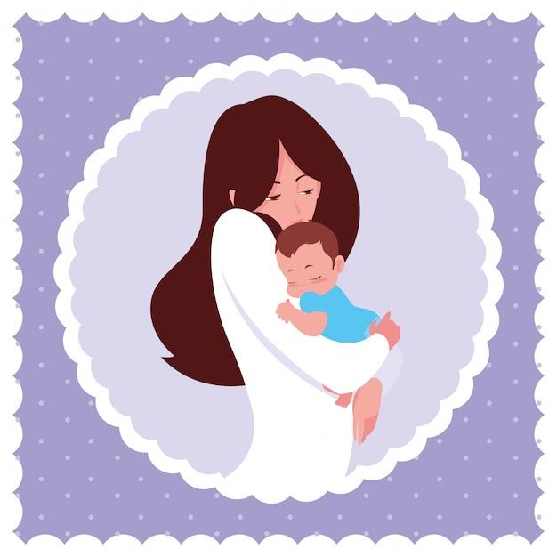 Madre sveglia con il piccolo figlio nel telaio circolare Vettore Premium