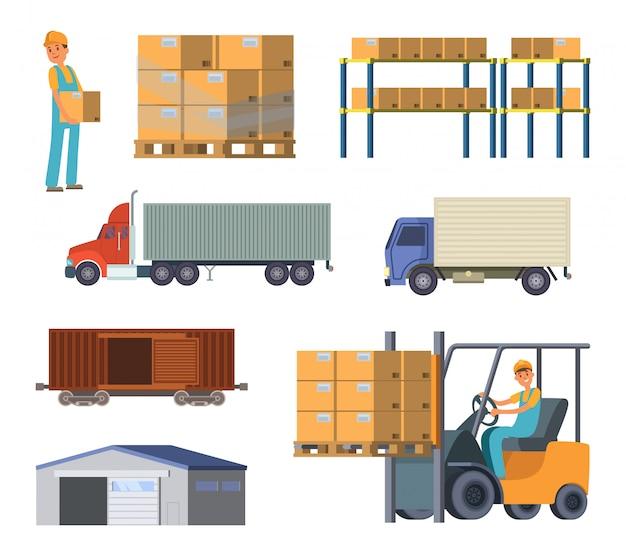 Magazzini e processi logistici. operaio con pacchetti. Vettore Premium
