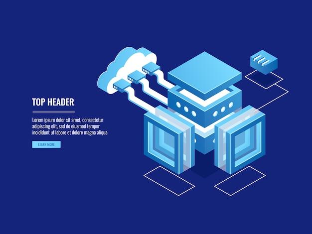 Magazzino cloud, archiviazione copia dati, sala server, connessione con cloud Vettore gratuito