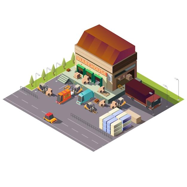 Magazzino commerciale edificio isometrico Vettore gratuito