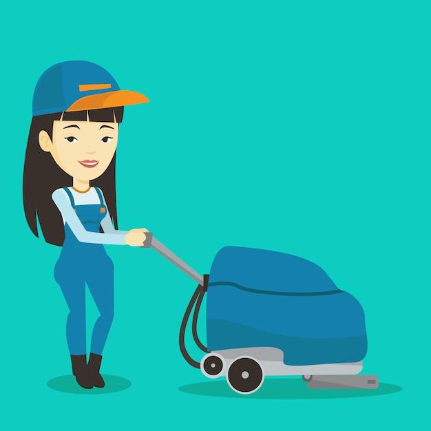 Magazzino di pulizia della lavoratrice con macchina. Vettore Premium