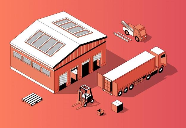 Magazzino isometrico 3d con camion, carrello elevatore Vettore gratuito