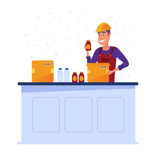 Magazzino lavoratore imballaggio merci in scatole Vettore Premium