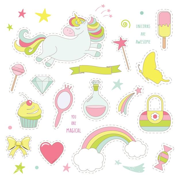 Magia di unicorno con arcobaleno, stelle e dolci. Vettore Premium