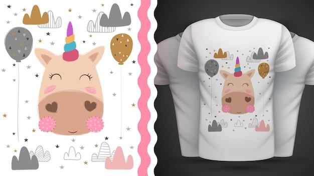 Magia, unicorno - idea per t-shirt stampata Vettore Premium