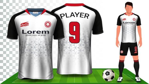 Maglia da calcio, maglia sportiva o kit da calcio presentazione uniforme. Vettore Premium