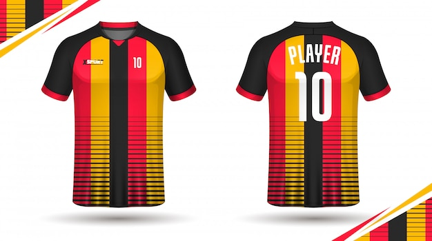 Maglia da calcio modello sportivo t shirt design Vettore Premium