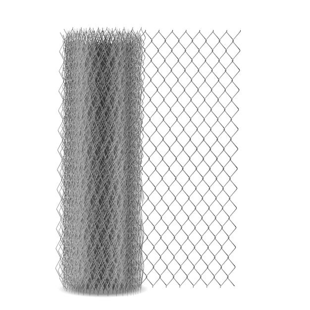 Maglia del collegamento a catena che recinta con l'occhiello esagonale, reticolato del rabitz del metallo nell'illustrazione realistica di vettore del rullo 3d isolata. recinzione, materiale da costruzione barriera tessuto da filo di acciaio Vettore gratuito