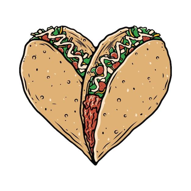 Maglietta dell'illustrazione dell'amante dell'alimento di taco Vettore Premium