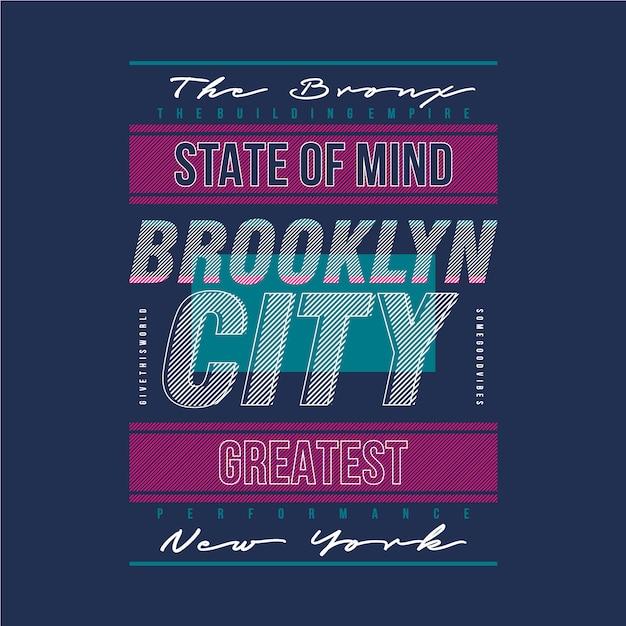 Maglietta di progettazione di tipografia grafica linea moderna di città di brooklyn Vettore Premium
