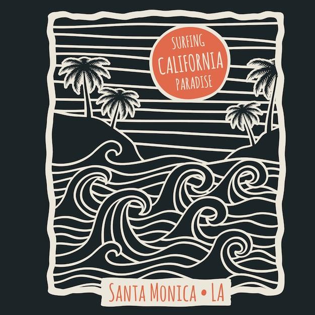 Maglietta di surf retrò spiaggia estiva della california con palme e onde dell'oceano Vettore Premium