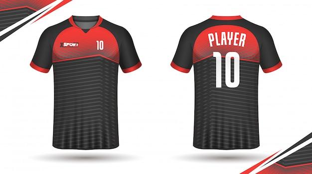 Maglietta sportiva modello calcio jersey Vettore Premium