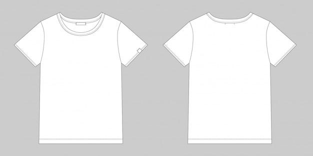 Maglietta tecnica da schizzo unisex. t-shirt bianca. vettore anteriore e posteriore. Vettore Premium
