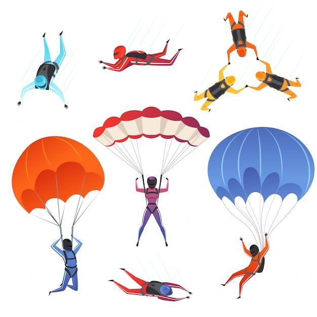 Maglioni di paracadute. sport estremi paracadutismo sport maschili e femminili sportivi in personaggi del cielo Vettore Premium