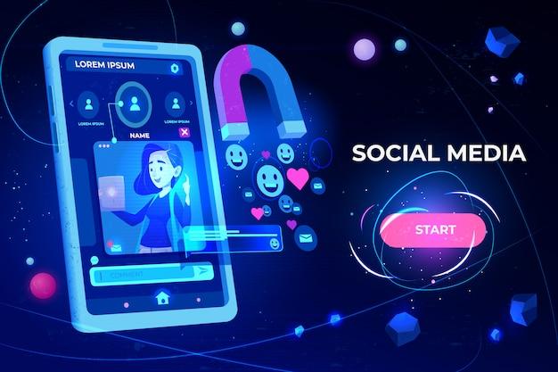 Magnete che attira mi piace, feedback e follower da smartphone con profilo di ragazza sulla pagina di destinazione dello schermo Vettore gratuito