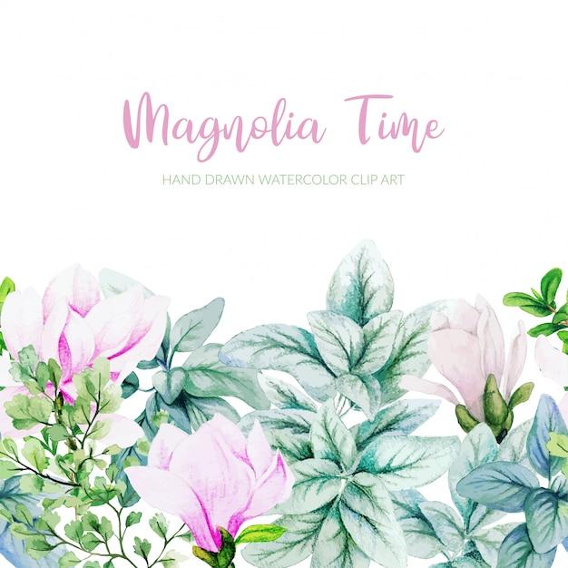 Magnolia dell'acquerello, foglie d'argento e foglie di monstera senza cuciture bordo, piè di pagina Vettore Premium