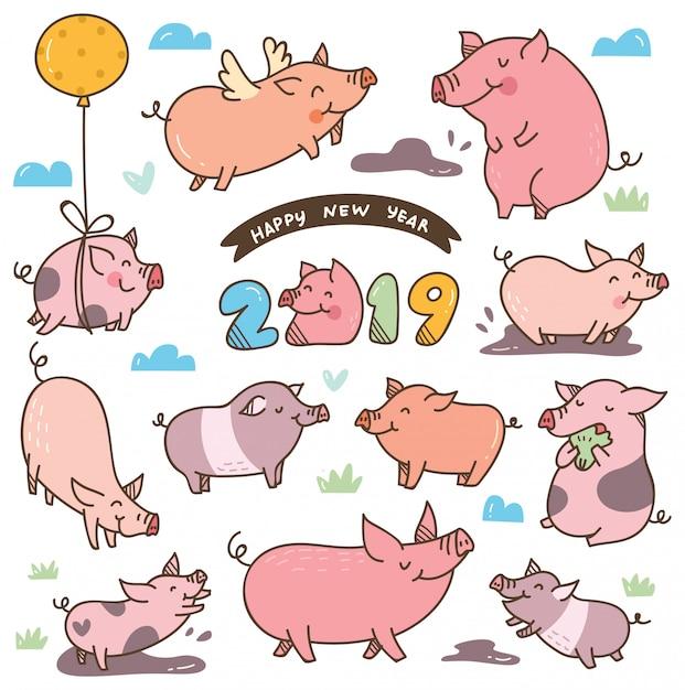 Maiale sveglio del fumetto per il festival cinese di nuovo anno Vettore Premium