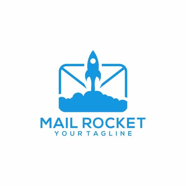 Mail rocket logo template vettoriale Vettore Premium