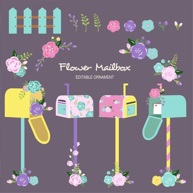 Mailbox dei fiori Vettore Premium