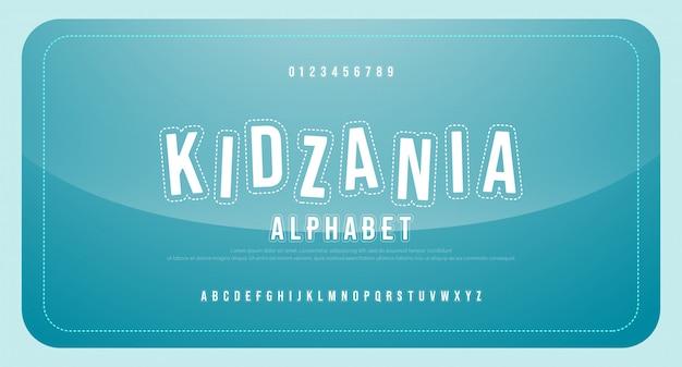 Maiuscolo e numero di alfabeto della fonte tipografica del fumetto dei bambini di divertimento. caratteri regolari di educazione di fumetti divertenti. Vettore Premium