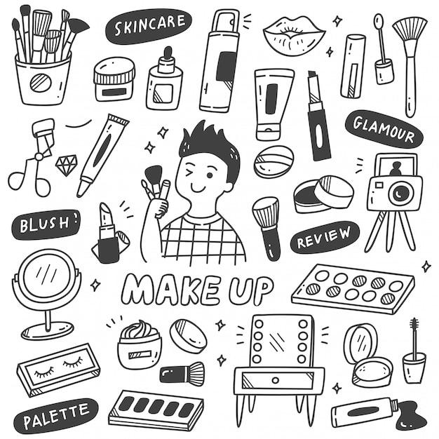 Make up artist equipments in stile doodle Vettore Premium