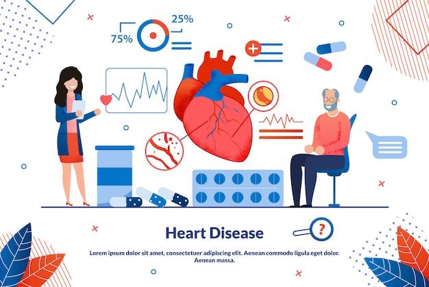 Malattia cardiaca informativa dell'iscrizione dell'aletta di filatoio piana. Vettore Premium