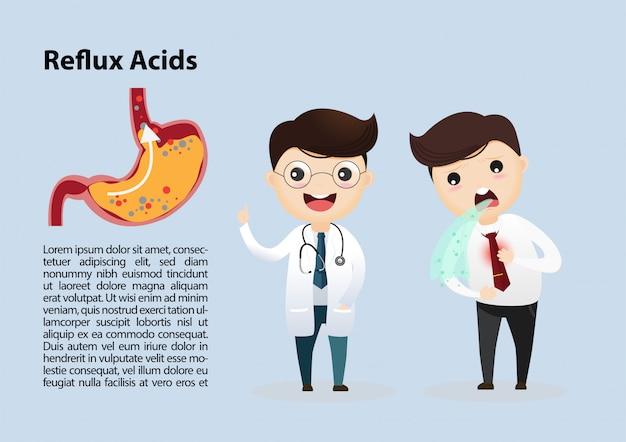 Malattia da reflusso gastroesofageo (gerd) Vettore Premium