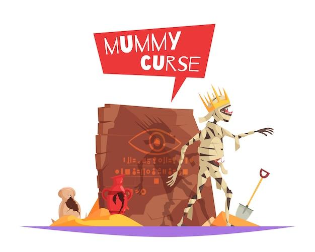 Maledizione del personaggio malvagio dei faraoni che causa sfortuna composizione divertente cartone animato con mummia disturbata a piedi Vettore gratuito