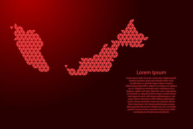 Malesia mappa schematica astratta da triangoli rossi ripetendo geometrica con nodi per banner, poster, cartolina d'auguri. . Vettore Premium