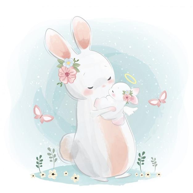Mamma angelica e coniglietto Vettore Premium