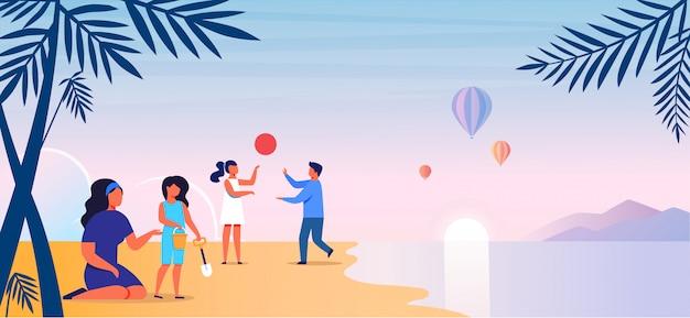 Mamma con i bambini sull'illustrazione di vettore della spiaggia Vettore Premium