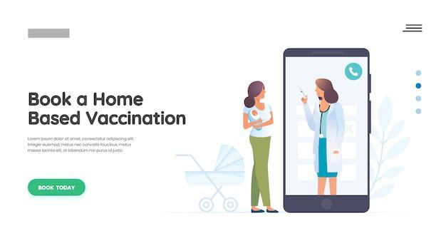 Mamma e bambino con medico pediatrico Vettore Premium