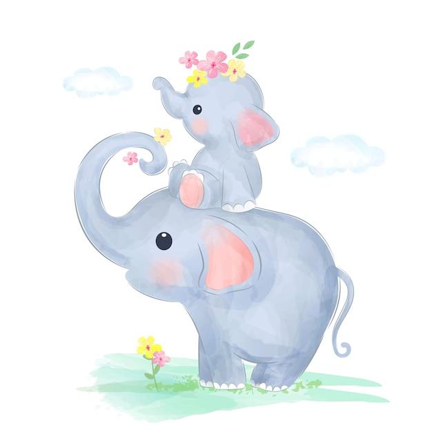 Mamma ed elefantino giocano insieme Vettore Premium