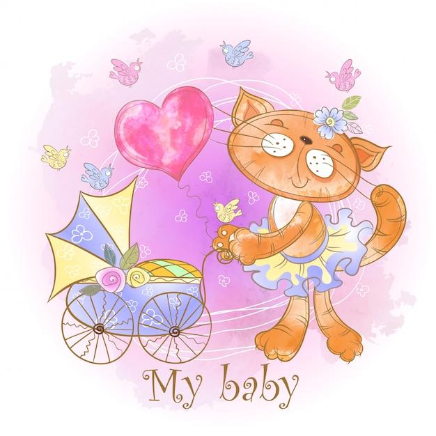 Mamma gatto con un bambino in un passeggino. il mio bambino. baby shower Vettore Premium