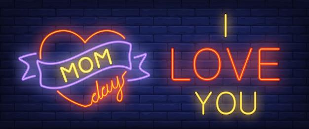 Mamma giorno, ti amo testo al neon con cuore e nastro Vettore gratuito