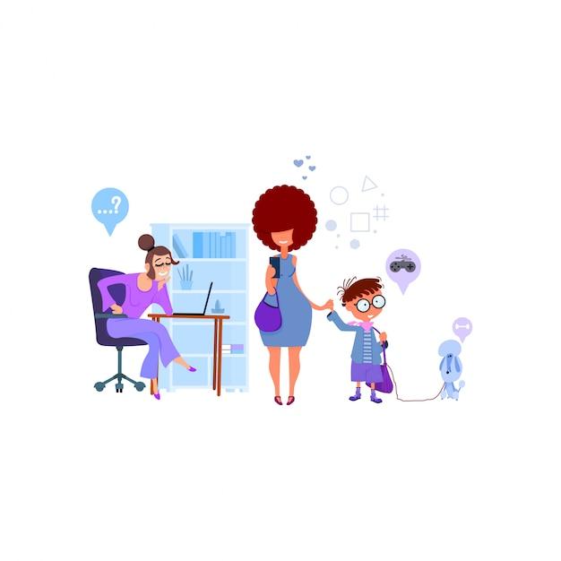 Mamma mamma scrive i bambini a scuola, il preside accetta ragazzi, design piatto. Vettore Premium