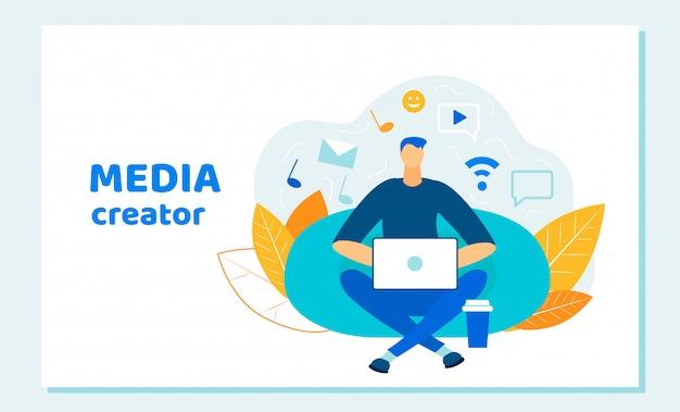 Man blogger, social media creator working laptop Vettore Premium