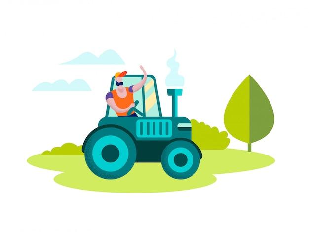 Man farmer driving tractor sul paesaggio della natura Vettore Premium