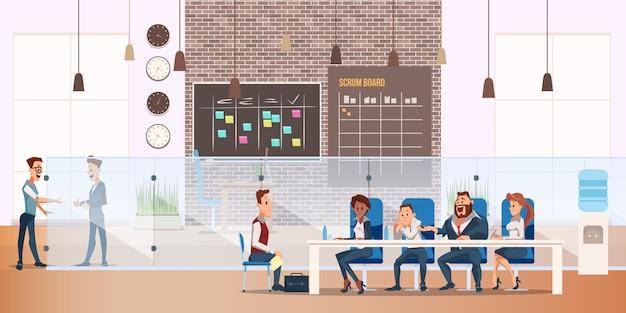 Man on job interview process in modern office Vettore Premium