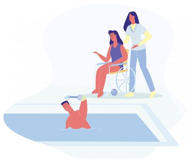 Man prosthetic hand swimm woman in sedia a rotelle Vettore Premium