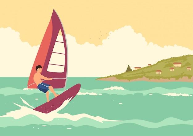 Man windsurf Vettore Premium