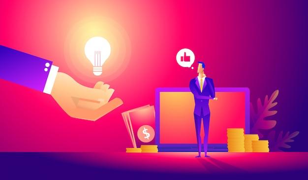 Manager al lavoro a distanza, alla ricerca di nuove idee soluzioni. Vettore Premium