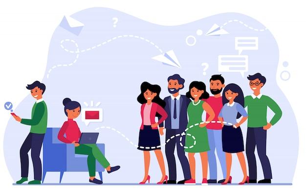 Manager che invia e-mail a clienti soddisfatti Vettore gratuito