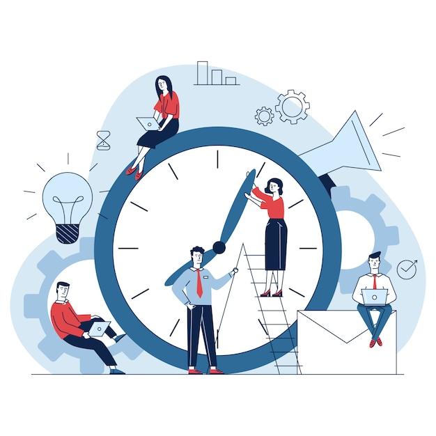 Manager che regolano le lancette dell'orologio Vettore gratuito