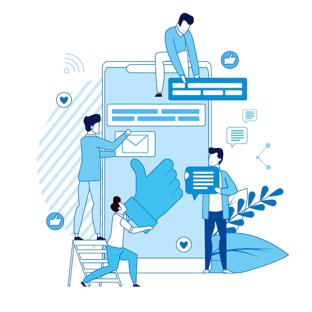Manager content content vector illustration del lavoro quotidiano. Vettore Premium